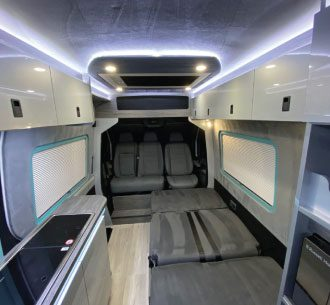 Sherwood Campers Pathfinder VW crafter Campervan Range Interior View with Gloss Units